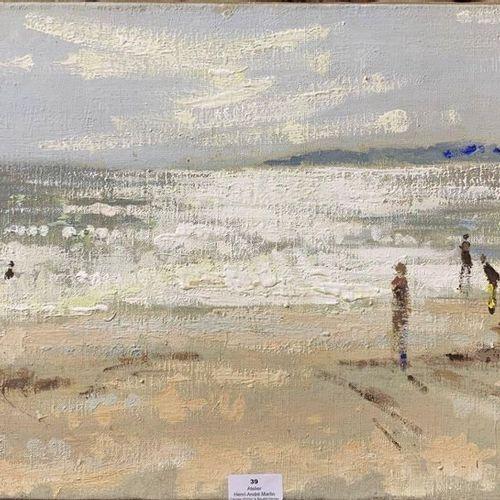 Henri André MARTIN (1918 2004) Scène de plage Toile Cachet de la signature en ba…