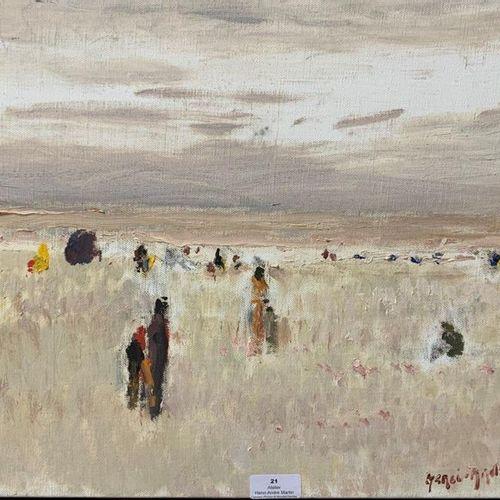 Henri André MARTIN (1918 2004) Scène de plage Toile Signée en bas à droite 33 x …