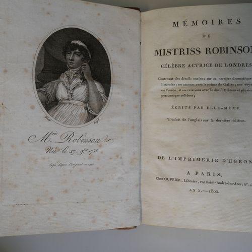 MISS MARY ROBINSON. Memoirs of Mistress Robinson, actress of London. Paris 1802.…