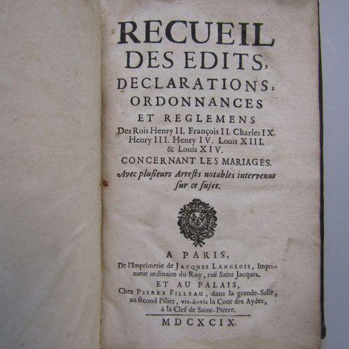 Recueil des edits, déclarations et ordonnances et règlements (sic) ... Concernan…