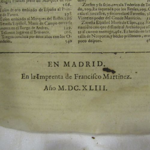 Cardinal Bentivollo, Guerra de Flandre. Madrid 1643. A strong volumen in folio, …