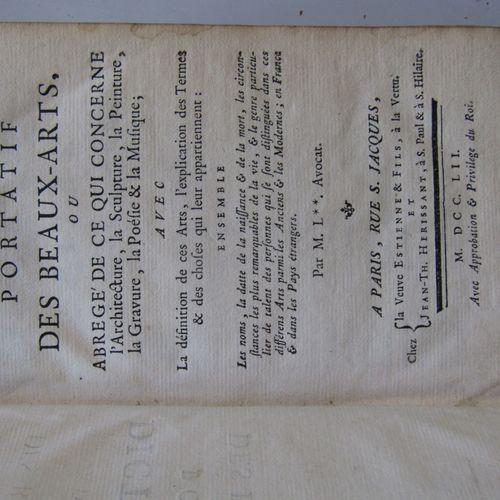 """""""DICTIONNAIRE PORTATIF DES BEAUX ARTS, Paris, chez veuve Estienne & fils, 1752, …"""