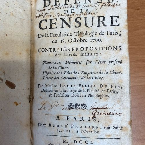 Father Louis Ellies Du PIN, Defense of censorship. Paris 1701. In 12°, full calf…