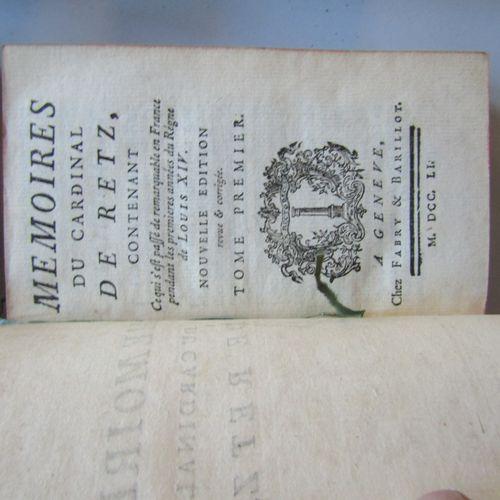 """MEMOIRES DU CARDINAL DE RETZ"", Geneva, chez Fabry & Barillot, 1751, 4 volumes i…"