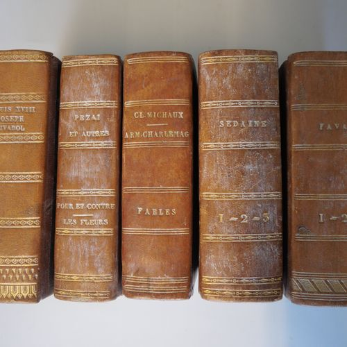 FAVAR, SEDAINE, MICHAUX, PEZAI, Louis XVIII... Set of 5 volumes, romantic bindin…