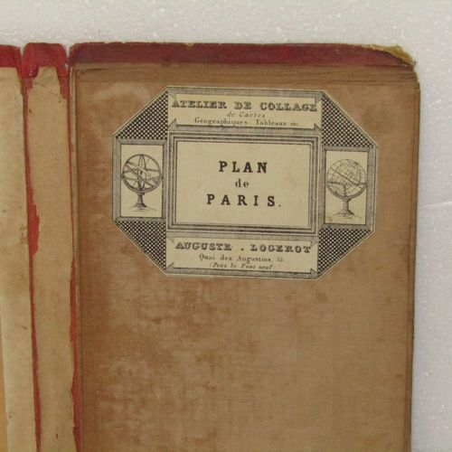 Large map of Paris (circa 1870). Bound in its publisher's hardback cover (Logero…