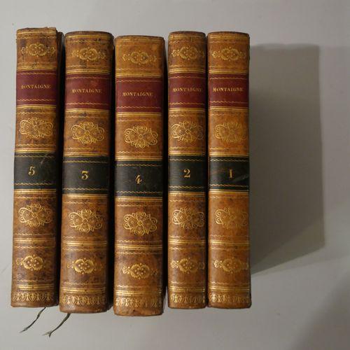 MONTAIGNE. Les essais 5 volume in 8°. Paris 1818. Bound in full seeded basane. S…