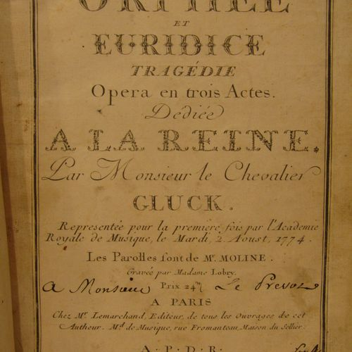 GLUCK: Orpheus and Euridice, tragedy, opera in three acts. From Lemarchand, no d…