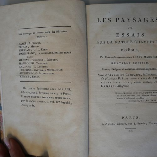 LEZAY MARNESIA. Landscapes or essay on rural nature. Paris, Louis 1800. 8°. Boun…