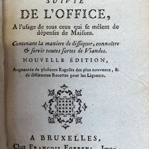 MENON, La Cuisinière bourgeoise. Brussels, 1771. Iu 12°. Bound in contemporary b…