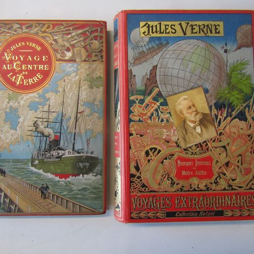2 Jules Verne volumes in Hetzel Editions in good condition : VERNE : Voyage au c…