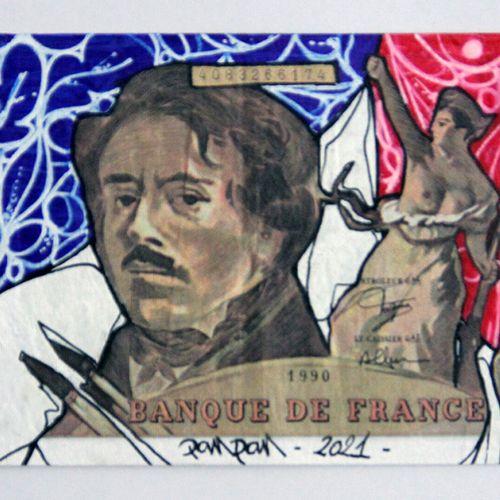 PANONER PAN (né en 1982). Aux arts, citoyens !  Posca et encre sur billet de 100…
