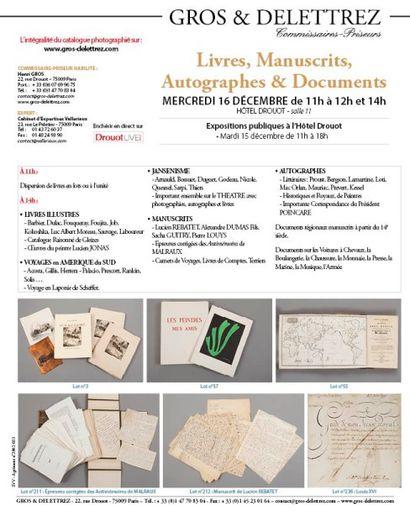 Livres, Manuscrits, Autographes & Documents - vente à 11h00 et 14h00