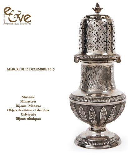Monnaie - Miniatures - Bijoux - Montres - Objets de vitrine - Tabatières - Orfèvrerie - Bijoux ethniques