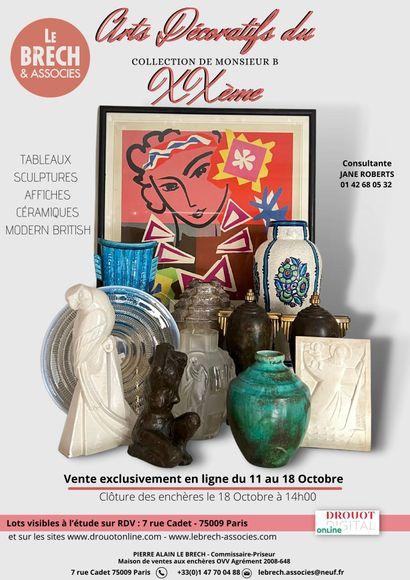 ARTS DECORATIFS DU XX° : Collection de Mr M.B Tableaux Affiches Sculptures Céramiques- Modern British