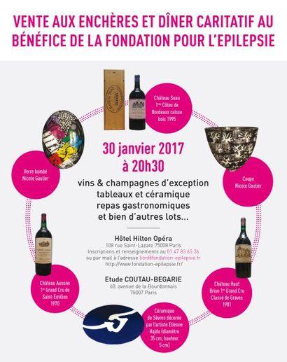 vins et alcools, céramiques, tableaux modernes, vente au profit de la fondation pour l'épilepsie