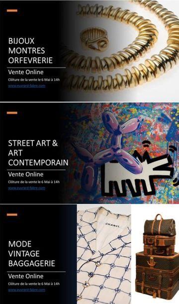VENTE ONLINE: BIJOUX - ORFEVRERIE  - STREET ART -  MOBILIER & OBJETS D'ART - TABLEAUX MODERNES