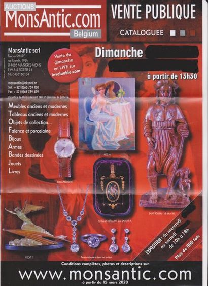 Vente  cataloguée d'antiquités Monsantic