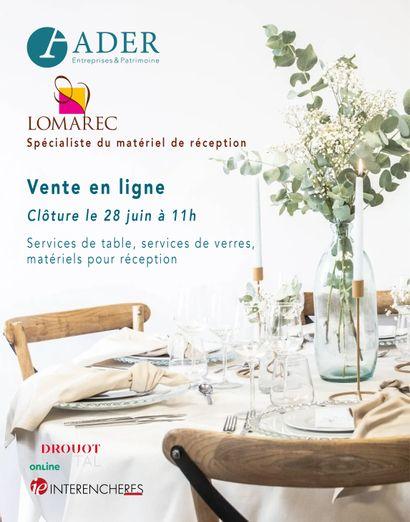 [VENTE EN LIGNE] En provenance de la société Lomarec, spécialiste du matériel de réception : Services de table, services de verres, matériels pour réception