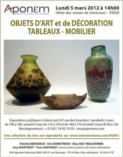 OBJETS D'ART et de DÉCORATION TABLEAUX - MOBILIER