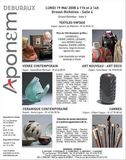 Textiles- Céramique et verre contemporain - Art nouveau - Art déco - cannes