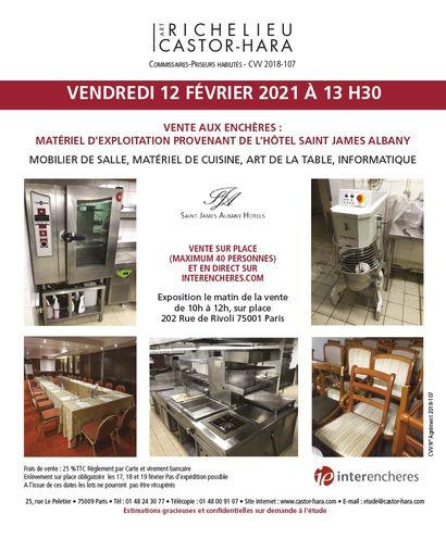Operating equipment Hotel Saint-James Albany PARIS
