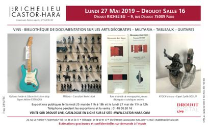 vins, documentation sur les arts décoratifs, militaria, tableaux, guitares