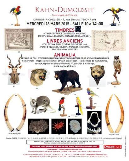 TIMBRES, LIVRES ANCIENS, ANIMALIA, CABINET DE CURIOSITE ET SCIENCES NATURELLES