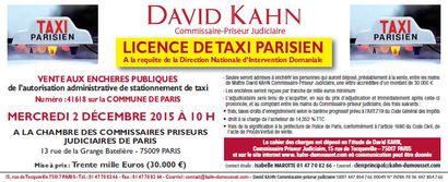 LICENCE DE TAXI PARISIEN A la requête de la Direction Nationale d'Intervention Domaniale