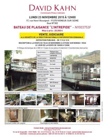 """Vente sur place - BATEAU DE PLAISANCE """"L'INTREPIDE"""" – NY003753F"""