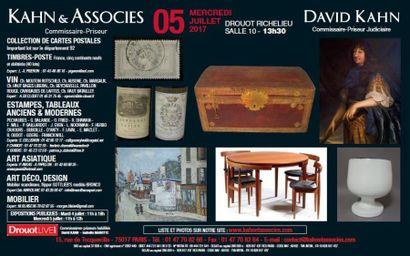 cartes postales, timbres-poste, estampes, tableaux anciens, tableaux modernes, art d'Asie, art déco, design, objets d'art et d'ameublement, vins
