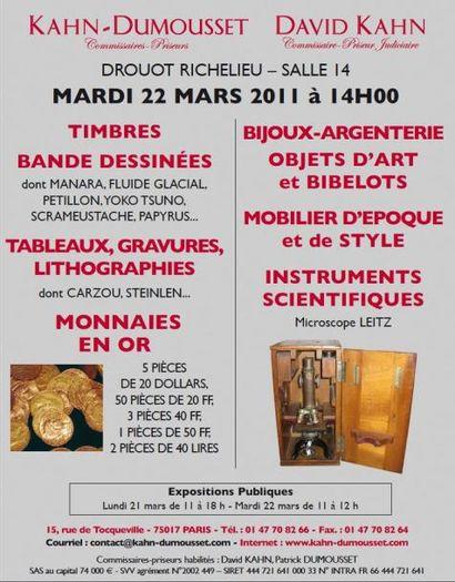 Meubles et objets d'art - Timbres - Bijoux...