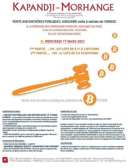 VENTE DE BITCOINS (CRYPTOMONNAIES) : merci de vous diriger sur www.interencheres.com/75031