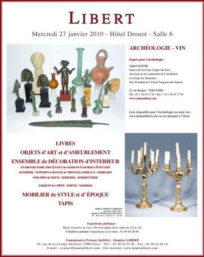 ARCHEOLOGIE - VIN - MOBILIER OBJETS d'ART CLASSIQUE