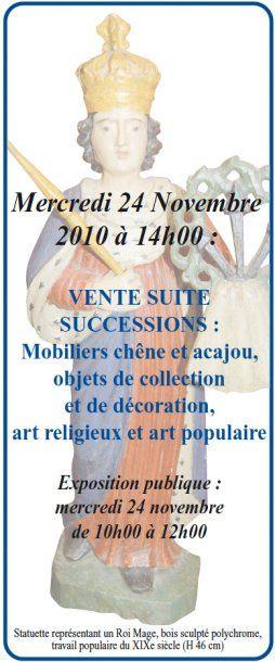 VENTE SUITE SUCCESSIONS : Mobiliers,Objets de collection et de décoration, Art religieux et art populaire