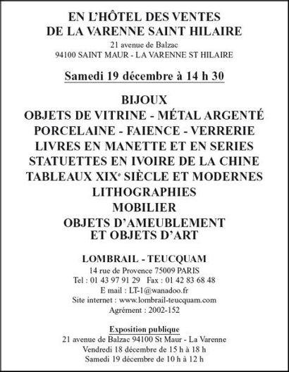 BIJOUX - OBJETS DE VITRINE ET D'AMEUBLEMENT - TABLEAUX - MOBILIER