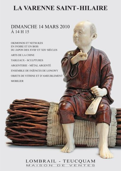 OKIMONOS ET NETSUKES EN IVOIRE ET BOIS DU JAPON XVIIIe, XIXe  S - TABLEAUX & SCULPTURES - OBJETS D'AMEUBLEMENT - MOBILIER - HÔTEL DES VENTES DE LA VARENNE
