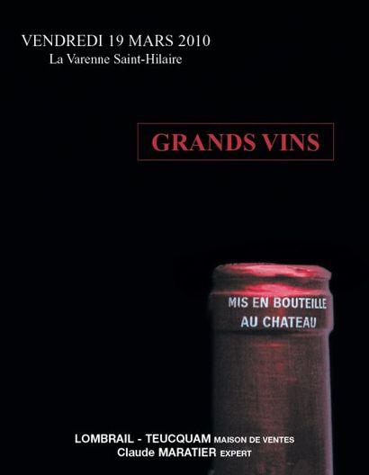 GRANDS VINS ET VIEUX ALCOOLS - EXPERT : C. MARATIER  - HÔTEL DES VENTES DE LA VARENNE ST HILAIRE