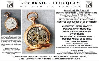 OBJETS DE VITRINE - OBJETS D'ART ET D'AMEUBLEMENT - TABLEAUX - LITHOGRAPHIES - MOBILIER