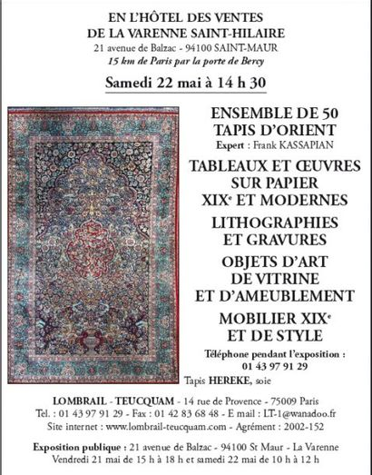 OBJETS DE VITRINE - TABLEAUX - LITHOGRAPHIES - GRAVURES - 50 TAPIS D'ORIENT - MEUBLES ET OBJETS D'AMEUBLEMENT