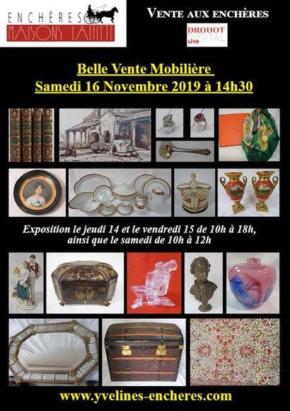 Belle vente mobilière : Beaux livres - Estampes et Tableaux - Bijoux et Argenterie - Objets d'Art et de Vitrine - Mobilier - Tapis