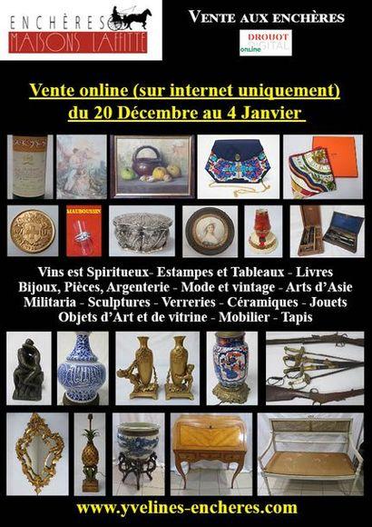Vente online : Vins et Spiritueux - Livres - Estampes, dessins, tableaux - Mode et Bijoux - Or et argent - Arts de la table - Arts d'Asie - Objets d'Art et de vitrine - Mobilier - Tapis