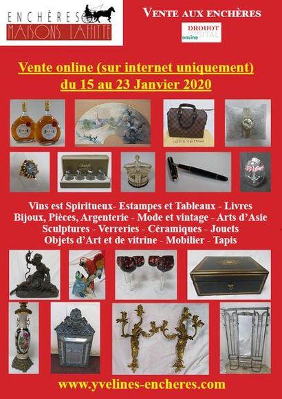 Vente online : Vins et Spiritueux - Livres - Estampes, dessins, tableaux - Mode et Bijoux - Arts de la Table - Céramique - Verrerie - Objets d'Art et de vitrine - Mobilier - Textiles - Tapis