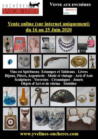 Vente online : Vins et Spiritueux - Livres - Estampes, dessins, tableaux - Mode et Bijoux - Arts de la Table - Céramique - Verrerie - Objets d'Art et de vitrine - Mobilier - Textiles