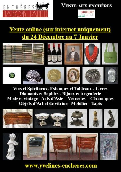Online sale : Wines and Spirits - Books including many volumes of La Pléiade - Graphic Arts - Diamonds and Sapphires - Jewelry - Fashion - Tableware - Works of Art and window displays - Ceramics - Asian Arts - Glassware - Furniture - Textiles and Carpets