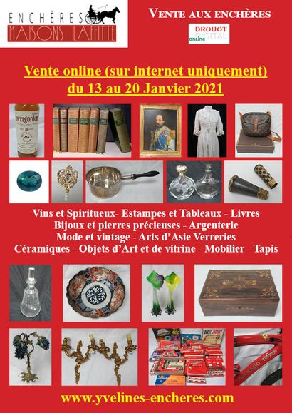 Online sale : Wines and Spirits - Books - Prints, drawings, paintings - Precious stones and Jewelry - Fashion and vintage - Tableware - Works of Art and window displays - Ceramics - Glassware - Asian Art - Furniture - Textiles and Carpets