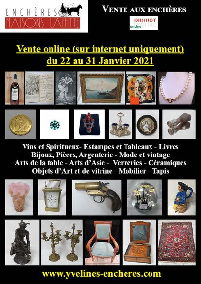 Online sale : Wines and Spirits - Books - Prints, drawings, paintings - Precious stones and Jewelry - Coins and Silverware - Fashion and vintage - Tableware - Works of Art and window displays - Ceramics - Glassware - Asian Art - Furniture - Textiles and Carpets