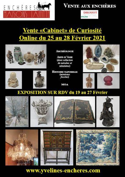 Vente Cabinet de Curiosités : Archéologie - Histoire naturelle - Pierres précieuses - Arts d'Asie (dont importante collection de tabatières) et d'Amérique - Objets d'Art - Mobilier - Tapisserie