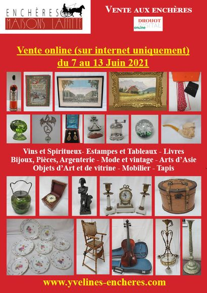 Online sale : Wines and Spirits - Books - Prints, drawings, paintings - Precious stones and Jewelry - Fashion and vintage - Tableware - Works of Art and window dressing - Ceramics - Glassware - Asian art - Furniture - Textiles and carpets
