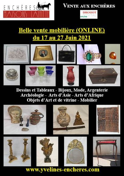 Beautiful furniture ONLINE sale : Prints, drawings, Paintings - Jewellery, Stones, Fashion, Silverware - Tableware - Glassware - Ceramics - Asian Art - African Art - Archaeology - Works of Art and Display cases